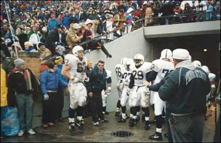Joe Paterno waits to lead the Lions out of the tunnel for the second half in '92. (Ed Andrews Collection)