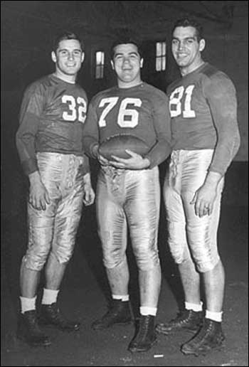 George (right) and two great Notre Dame friends, Johnny Lujack (left) and Ziggie Czarobski.