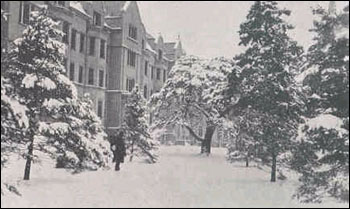 Winter scene of Walsh Hall from the 1921 Dome.