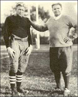 "All-time great Ernie Nevers with Stanford coach ""Pop"" Warner"