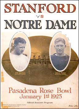 The official souvenir program from the 1925 Rose Bowl. Authentic programs in excellent condition have sold for over $5,000.
