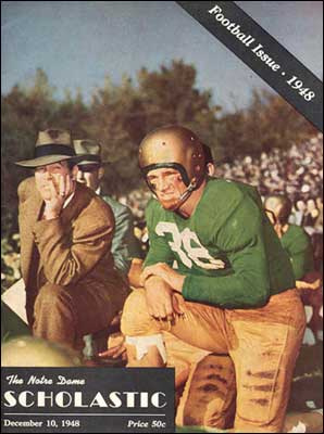 Frank Leahy and All American End Jim Martin along the sidelines of the '48 Iowa game. These two men exemplified the spirit of the Fighting Irish.