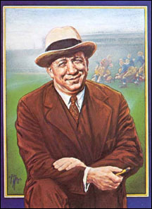 Noted sports artist Ted Watts captures the warmth and friendliness of Rockne in this painting commissioned for a Notre Dame game program.