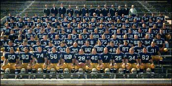 Captain Rocky Bleier (front row, center, number 28) and his teammates in their 1967 team photo.