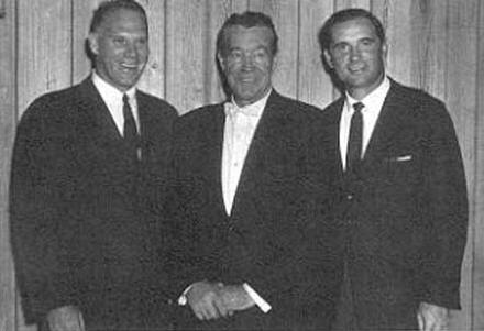 Frank Leahy (center) is reunited with two of his �lads,� Creighton Miller (left) and John Lujack (right) in 1963. (Courtesy of the University of Notre Dame Sports Information Department)