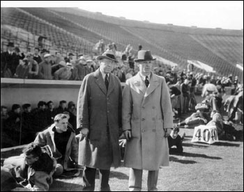 Athletic Director Harper and football coach Hunk Anderson in Notre Dame Stadium in 1931.