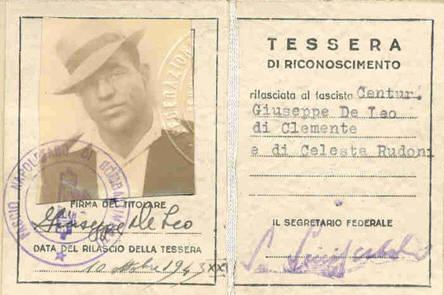 One of Joe�s fake wartime ID�s using his alias.